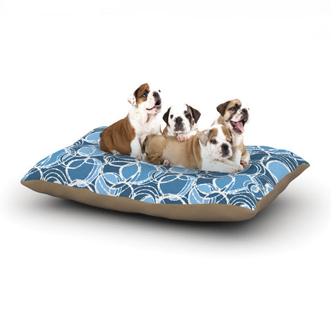"Julia Grifol ""Simple Circles in Blue"" Dog Bed - KESS InHouse  - 1"