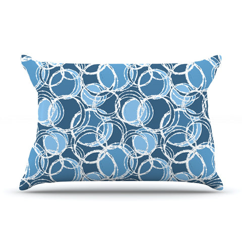 "Julia Grifol ""Simple Circles in Blue"" Pillow Sham - KESS InHouse"