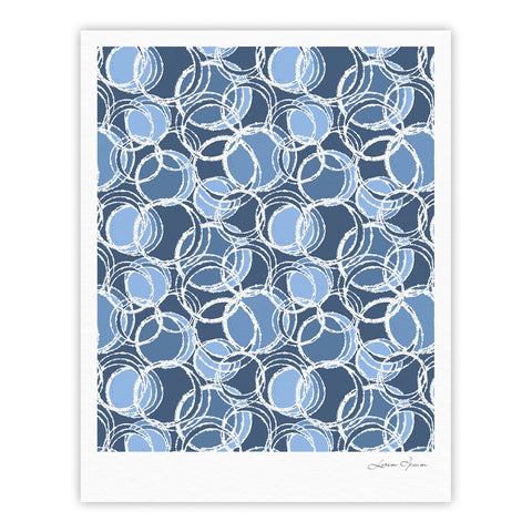 "Julia Grifol ""Simple Circles in Blue"" Fine Art Gallery Print - KESS InHouse"