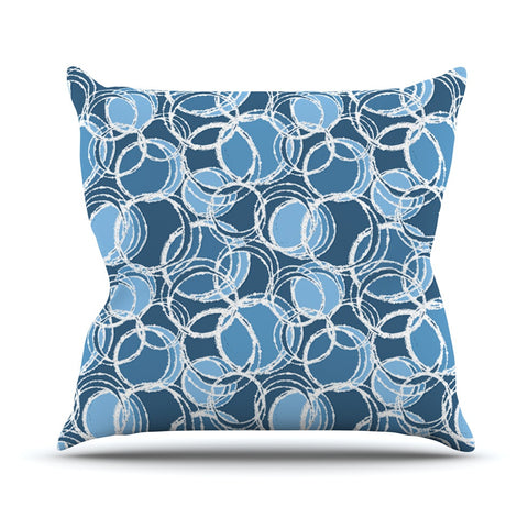 "Julia Grifol ""Simple Circles in Blue"" Throw Pillow - KESS InHouse  - 1"