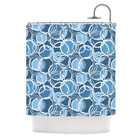 "Julia Grifol ""Simple Circles in Blue"" Shower Curtain - KESS InHouse"
