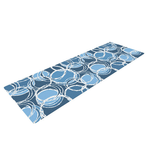 "Julia Grifol ""Simple Circles in Blue"" Yoga Mat - KESS InHouse  - 1"
