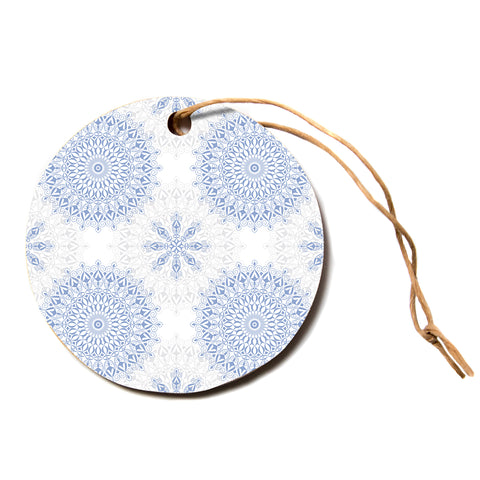 "julia grifol ""Mandalas In Blue"" Vector Geometric Circle Holiday Ornament"