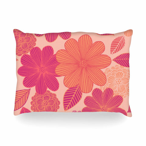 "Julia Grifol ""Lovely Flowers"" Pastel Magenta Digital Oblong Pillow"