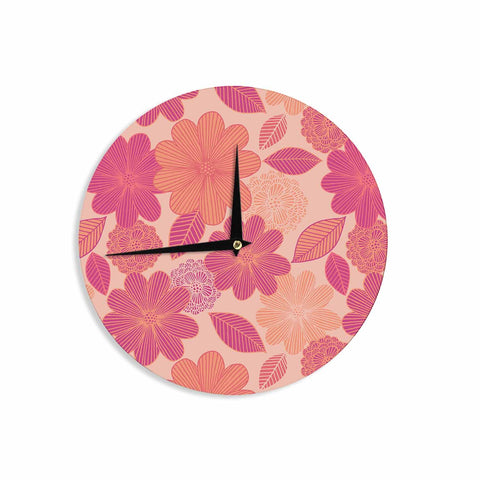 "Julia Grifol ""Lovely Flowers"" Pastel Magenta Digital Wall Clock"