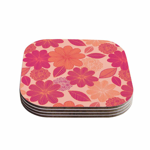"Julia Grifol ""Lovely Flowers"" Pastel Magenta Digital Coasters (Set of 4)"