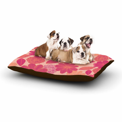 "Julia Grifol ""Lovely Flowers"" Pastel Magenta Digital Dog Bed"
