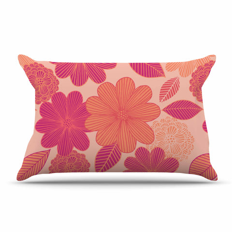 "Julia Grifol ""Lovely Flowers"" Pastel Magenta Digital Pillow Sham"