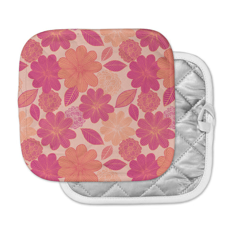 "Julia Grifol ""Lovely Flowers"" Pastel Magenta Digital Pot Holder"