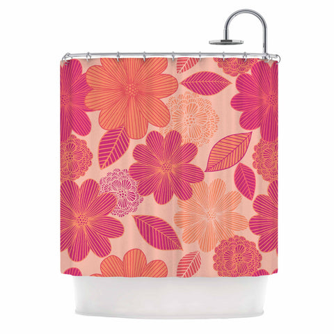 "Julia Grifol ""Lovely Flowers"" Pastel Magenta Digital Shower Curtain"