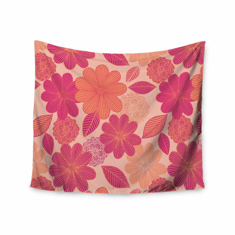 "Julia Grifol ""Lovely Flowers"" Pastel Magenta Digital Wall Tapestry"