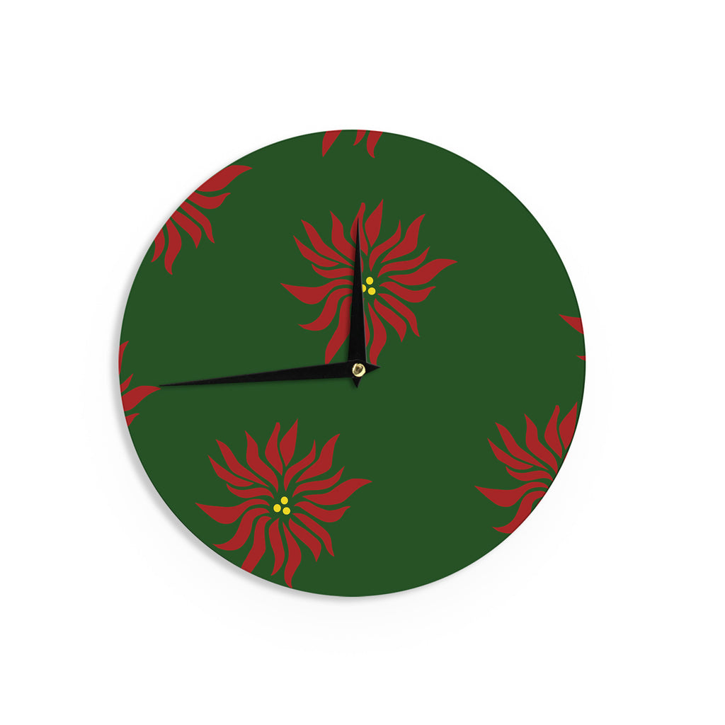"NL Designs ""Poinsettias"" Green Red Wall Clock - KESS InHouse"