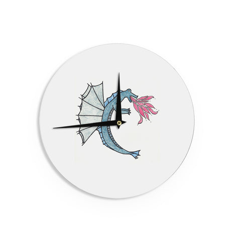 "NL Designs ""Water Dragon"" Blue White Wall Clock - KESS InHouse"