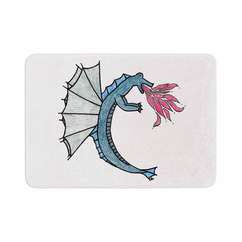 "NL Designs ""Water Dragon"" Blue White Memory Foam Bath Mat - KESS InHouse"