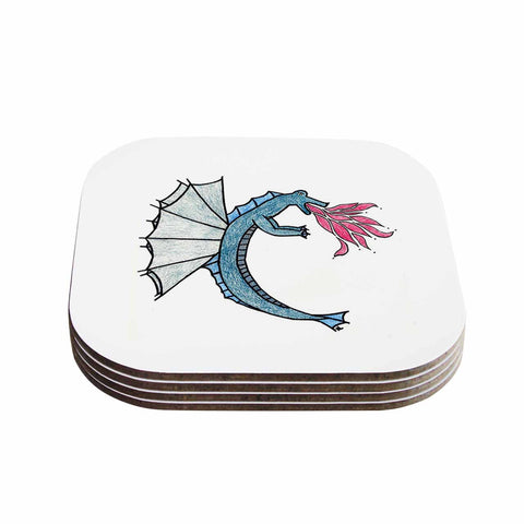 "NL Designs ""Water Dragon"" Blue White Coasters (Set of 4)"