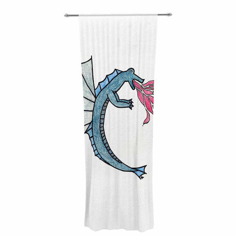 "NL Designs ""Water Dragon"" Blue White Decorative Sheer Curtain - KESS InHouse  - 1"