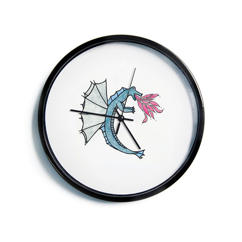 "NL Designs ""Water Dragon"" Blue White Modern Wall Clock"