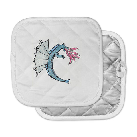 "NL Designs ""Water Dragon"" Blue White Pot Holder"