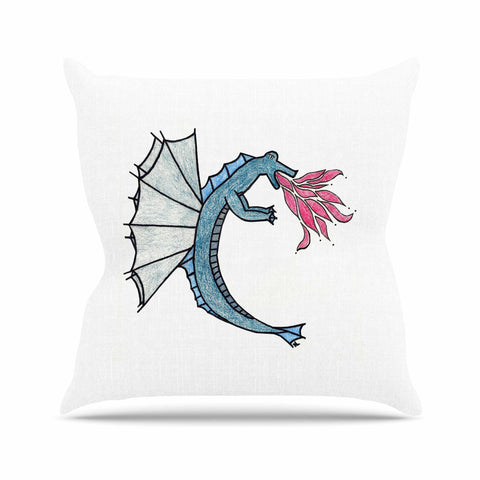 "NL Designs ""Water Dragon"" Blue White Outdoor Throw Pillow - KESS InHouse  - 1"