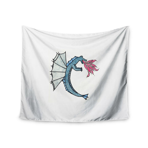 "NL Designs ""Water Dragon"" Blue White Wall Tapestry - KESS InHouse"