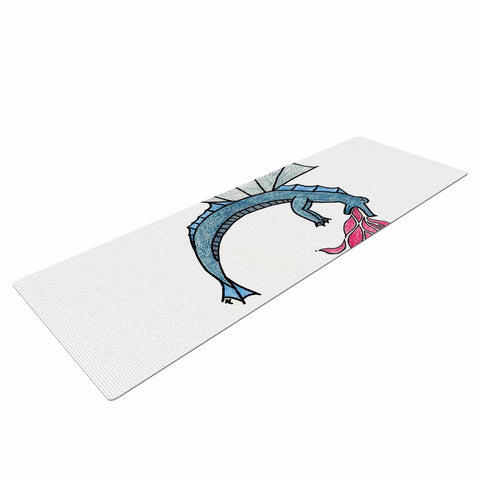 "NL Designs ""Water Dragon"" Blue White Yoga Mat - KESS InHouse  - 1"