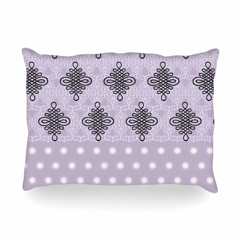 "NL designs ""Lavender Damask And Polkadot"" Purple Lavender Damask Polkadot Digital Illustration Oblong Pillow"