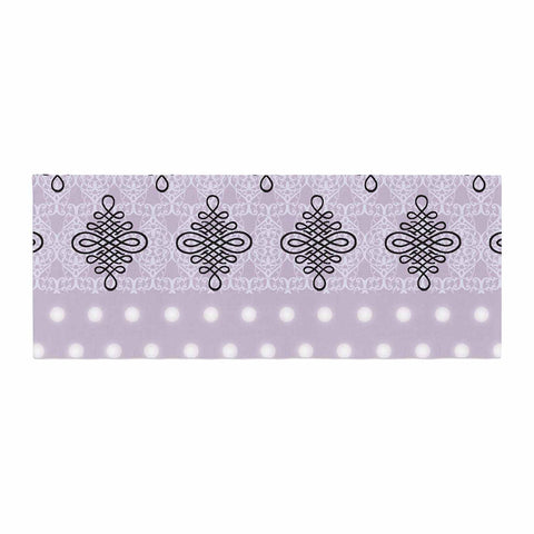 "NL designs ""Lavender Damask And Polkadot"" Purple Lavender Damask Polkadot Digital Illustration Bed Runner"