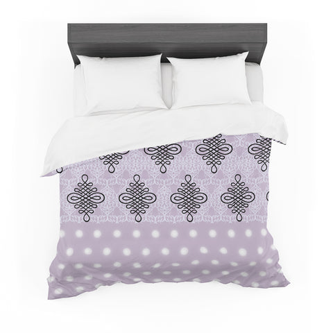 "NL designs ""Lavender Damask And Polkadot"" Purple Lavender Damask Polkadot Digital Illustration Featherweight Duvet Cover"