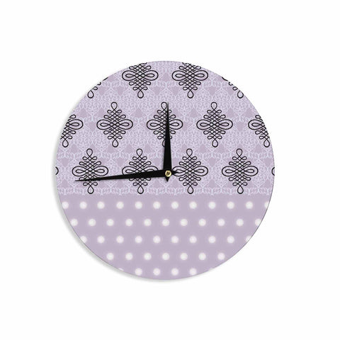 "NL designs ""Lavender Damask And Polkadot"" Purple Lavender Damask Polkadot Digital Illustration Wall Clock"