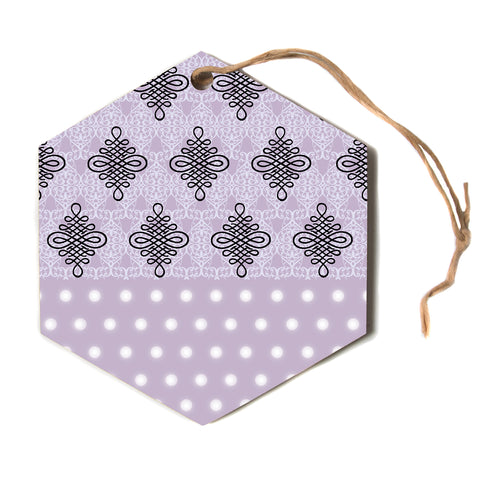 "NL designs ""Lavender Damask And Polkadot"" Purple Lavender Damask Polkadot Digital Illustration Hexagon Holiday Ornament"