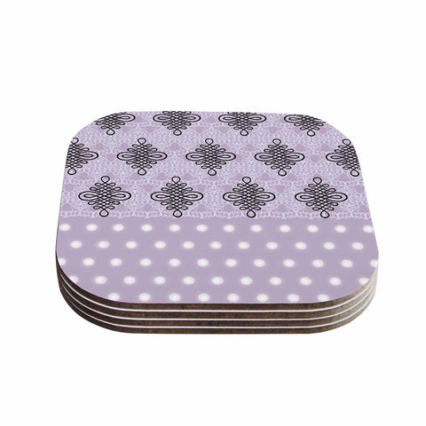 "NL designs ""Lavender Damask And Polkadot"" Purple Lavender Damask Polkadot Digital Illustration Coasters (Set of 4)"