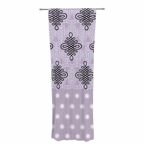 "NL designs ""Lavender Damask And Polkadot"" Purple Lavender Damask Polkadot Digital Illustration Decorative Sheer Curtain"