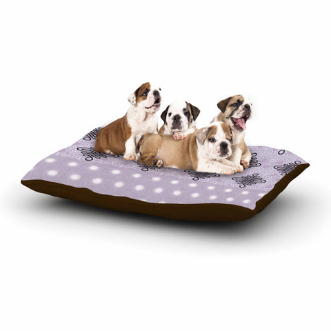 "NL designs ""Lavender Damask And Polkadot"" Purple Lavender Damask Polkadot Digital Illustration Dog Bed"
