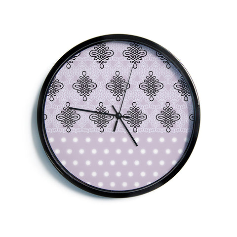 "NL designs ""Lavender Damask And Polkadot"" Purple Lavender Damask Polkadot Digital Illustration Modern Wall Clock"