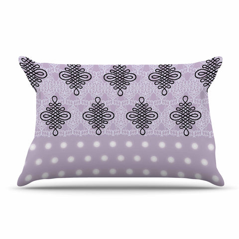 "NL designs ""Lavender Damask And Polkadot"" Purple Lavender Damask Polkadot Digital Illustration Pillow Sham"