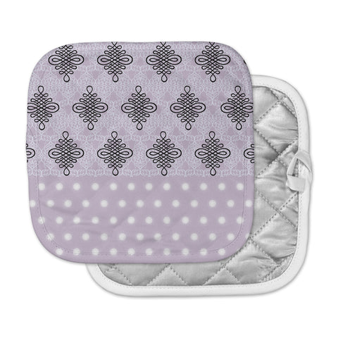 "NL designs ""Lavender Damask And Polkadot"" Purple Lavender Damask Polkadot Digital Illustration Pot Holder"