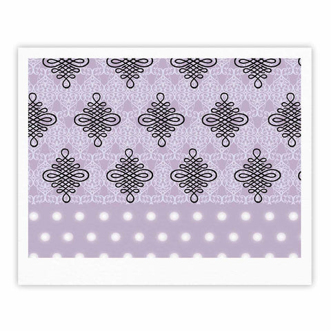 "NL designs ""Lavender Damask And Polkadot"" Purple Lavender Damask Polkadot Digital Illustration Fine Art Gallery Print"
