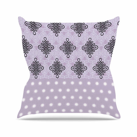"NL designs ""Lavender Damask And Polkadot"" Purple Lavender Damask Polkadot Digital Illustration Outdoor Throw Pillow"