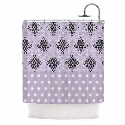 "NL designs ""Lavender Damask And Polkadot"" Purple Lavender Damask Polkadot Digital Illustration Shower Curtain"