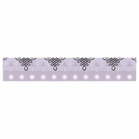 "NL designs ""Lavender Damask And Polkadot"" Purple Lavender Damask Polkadot Digital Illustration Table Runner"