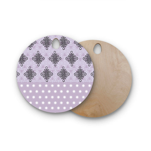 "NL designs ""Lavender Damask And Polkadot"" Purple Lavender Damask Polkadot Digital Illustration Round Wooden Cutting Board"