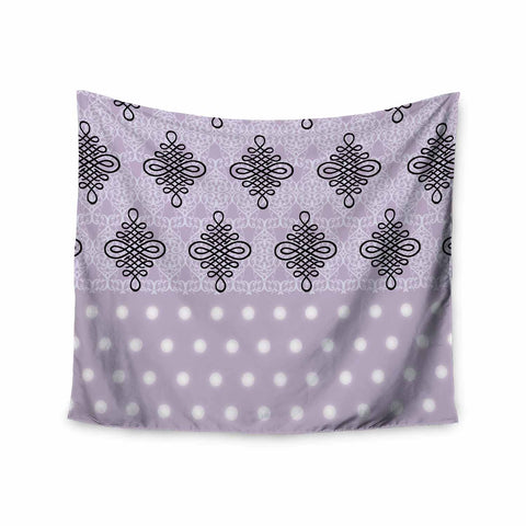 "NL designs ""Lavender Damask And Polkadot"" Purple Lavender Damask Polkadot Digital Illustration Wall Tapestry"