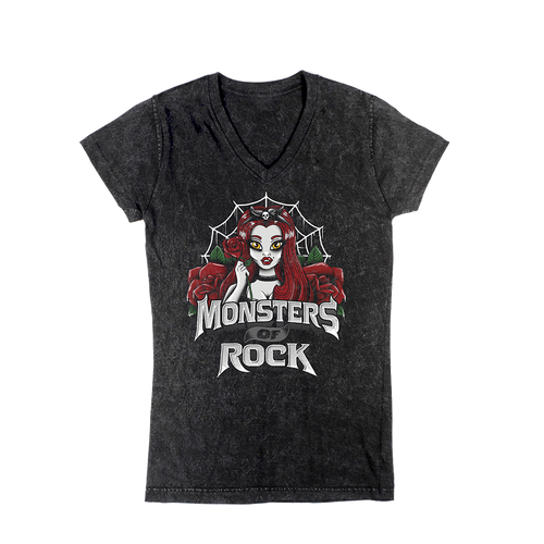 Vintage MONSTERS OF ROCK® Pin Up Spider Girl Acid Wash Tee