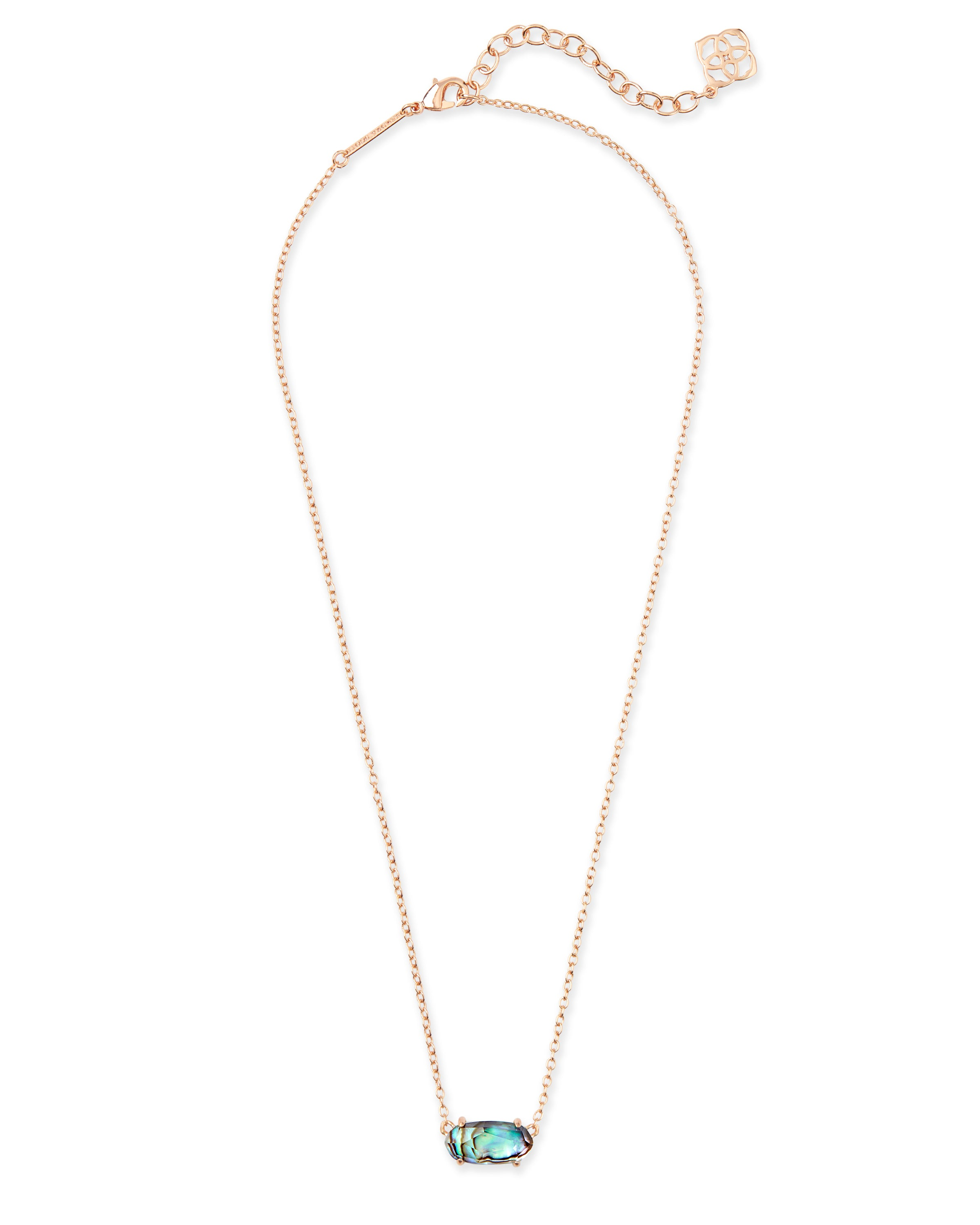 Kendra Scott Ever Rose Gold Pendant Necklace In Abalone Shell
