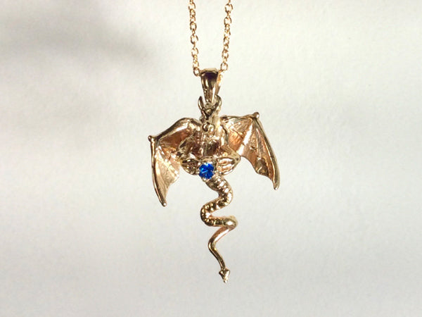 Flying Dragon necklace on chain, Dragon necklace with gem, dragon necklace, golden bronze dragon necklace, horned dragon necklace