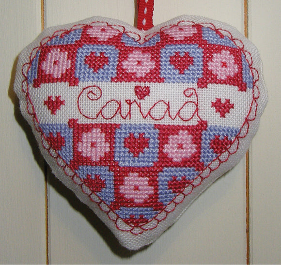 'Cariad' heart cross stitch chart
