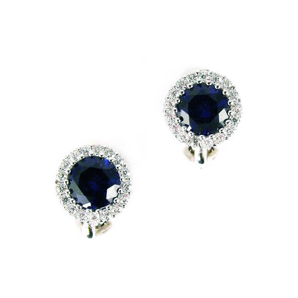 Sapphire Blue Clip on Earrings