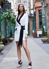 Load image into Gallery viewer, White & Black Tux Wrap Dress