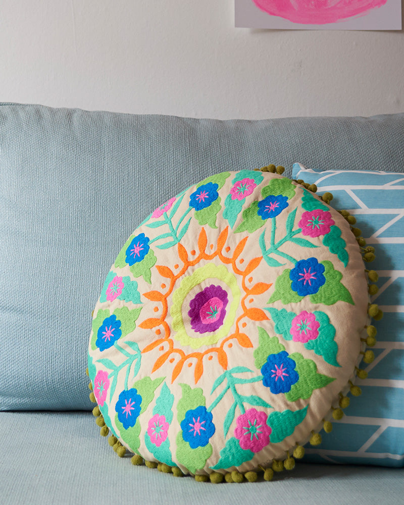 Green Tibetan Embroidered Cushion
