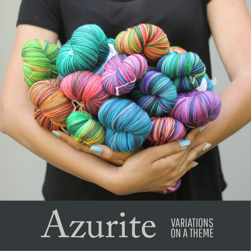 Azurite self striping yarn from gauge dye works